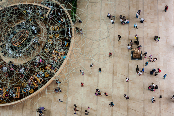 Crowds of people from above 600x400