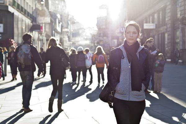 Girl walking in street