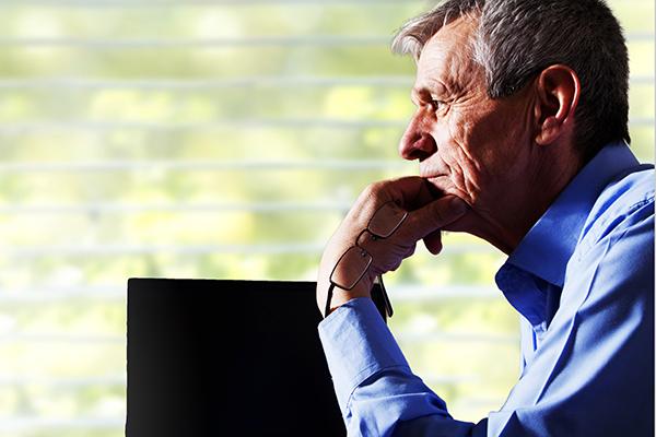Pensive older man 600x400