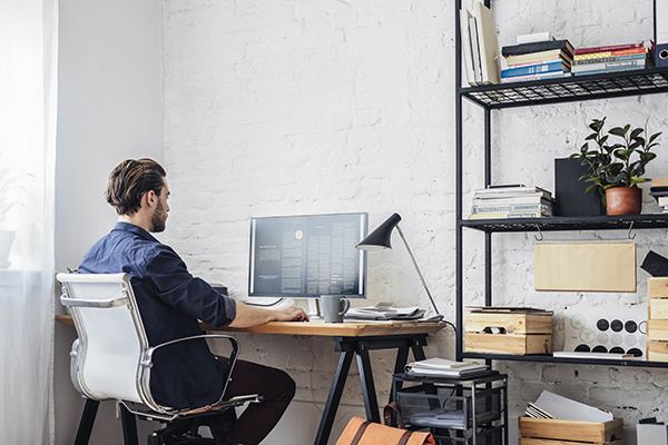 Man working from home office 600x400